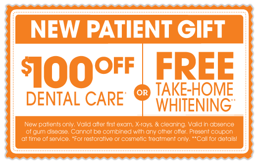 New Patient Special: $100 off Dental Care or Free Take-Home Whitening
