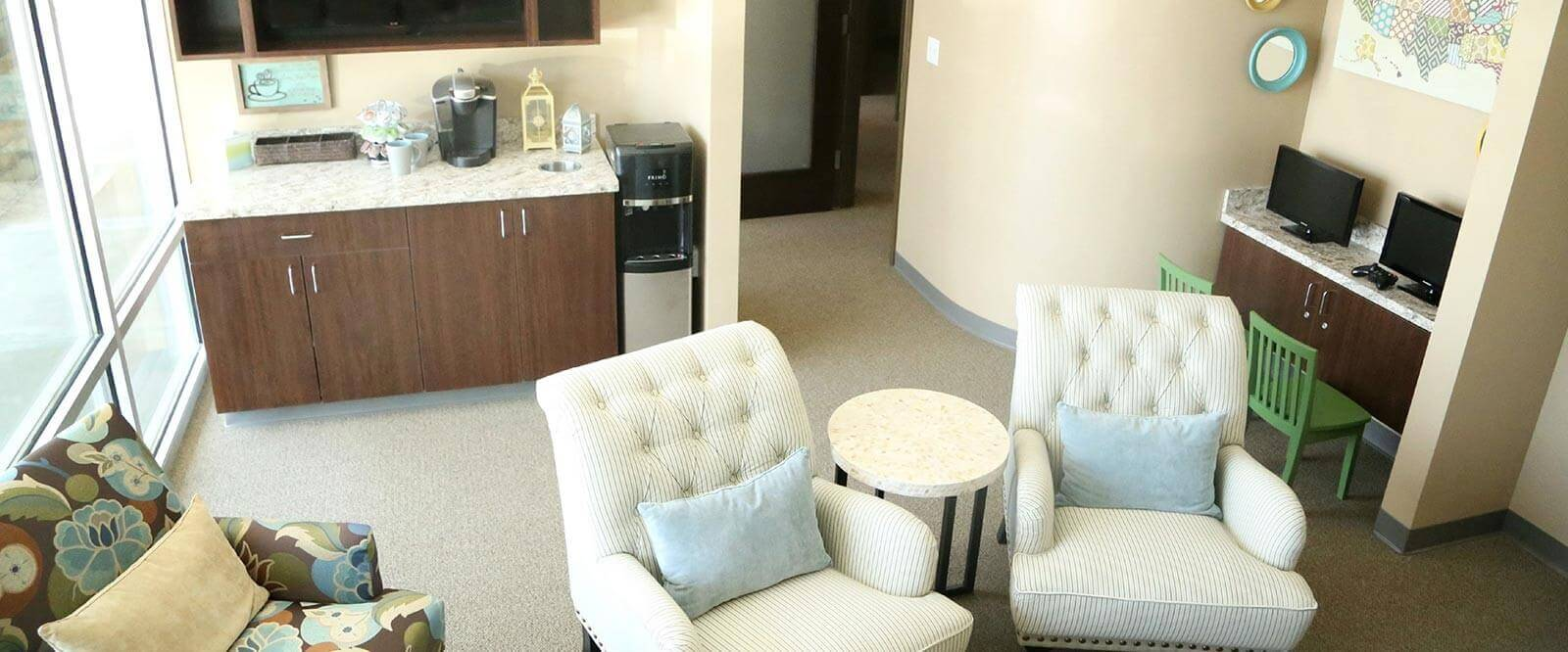 Waiting Room and Beverage Station - Overland Park Family Dental
