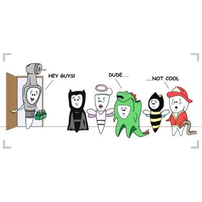 A cartoon tooth dresses up as a dental drill for halloween to scare his cartoon teeth friends